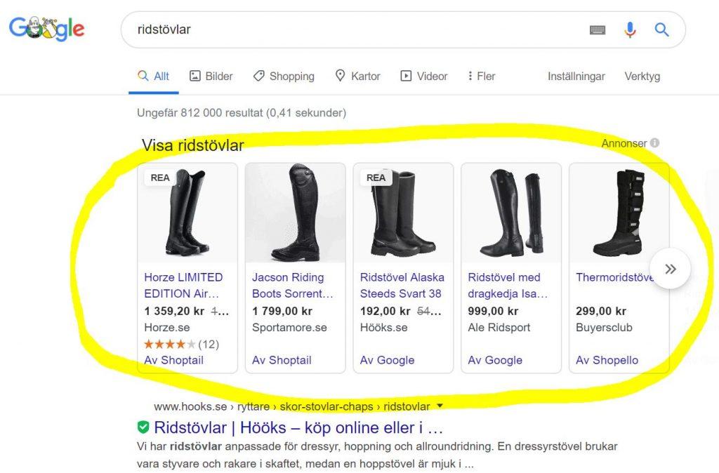 Google Shopping Ridstövlar